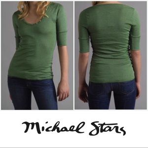 Michael Stars Green Button Front Henley OS Small S